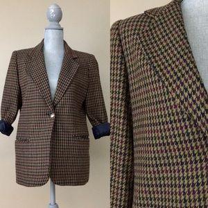 Vintage 90s Sag Harbor Houndstooth Blazer Jacket
